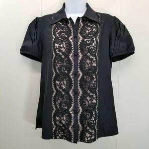 Lafayette 148 Black Tan Lace Top Blouse 8 Silk